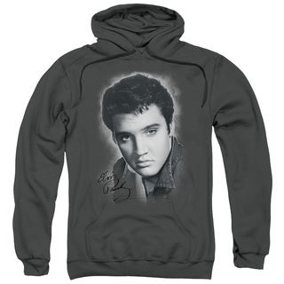 Elvis/Grey Portrait Adult Pull-Over Hoodie in Charcoal