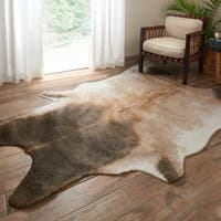 "Alexander Home Faux Cowhide Tan/ Dark Brown Area Rug - 3'10"" x 5'"