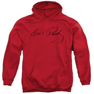 Elvis/Signature Sketch Adult Pull-Over Hoodie in Red