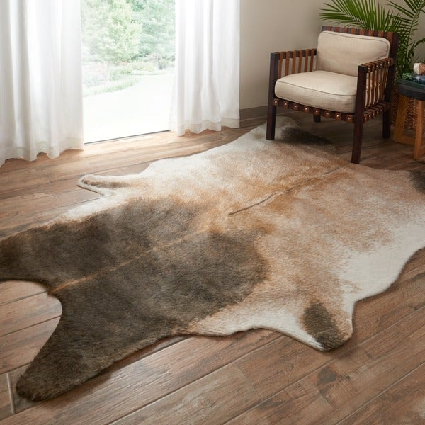 Shop Faux Cowhide Tan Dark Brown Area Rug 5 X 6 6 On