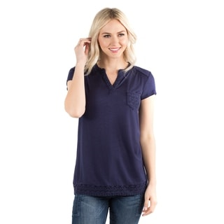DownEast Basics Women's Blue Cotton/Spandex/Rayon/Polyester Cap-sleeve Top With Crochet Detail