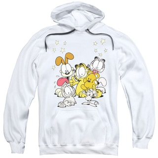 Garfield/Friends Are Best Adult Pull-Over Hoodie in White