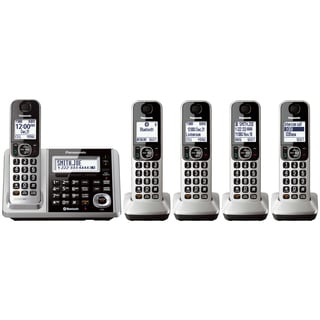 Panasonic KX-TGF375S Link2Cell Bluetooth Backlit Keypad Silver Cordless Phone and Answering Machine with 5 Handsets (Option: Silver)