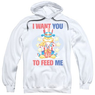 Garfield/I Want You Adult Pull-Over Hoodie in White