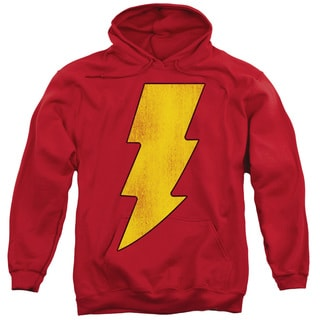 DC/Shazam Logo Distressed Adult Pull-Over Hoodie in Red