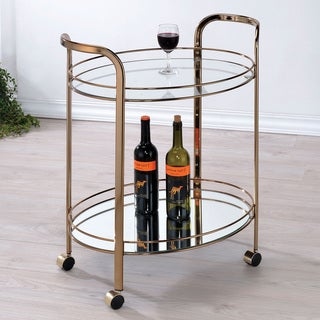 Furniture of America Vira Contemporary Champagne 2-shelf Serving Cart