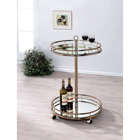 Odetta Contemporary Champagne 2-shelf Mirrored Bar Cart by FOA