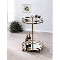 Furniture of America Odetta Contemporary Champagne 2-shelf Mirrored Bar Cart