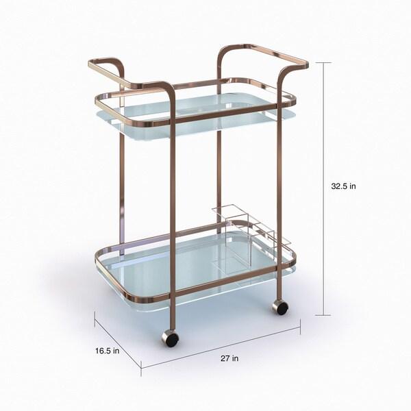 Strick & Bolton Reinhardt Champagne 2-shelf Serving Cart