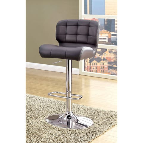 Furniture of America Beas Contemporary Faux Leather Swivel Bar Chair