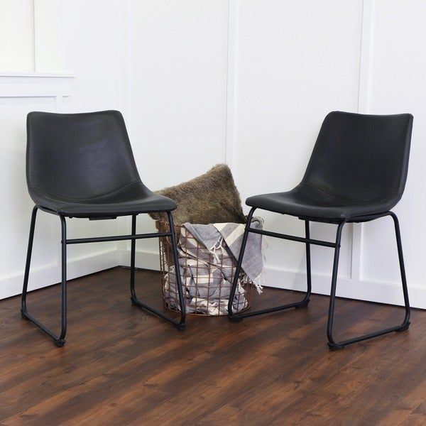 Shop Tribecca Home Decor Faux Alligator Print Dining Chair: 18-inch Black Faux Leather Dining Chairs (Set Of 2)