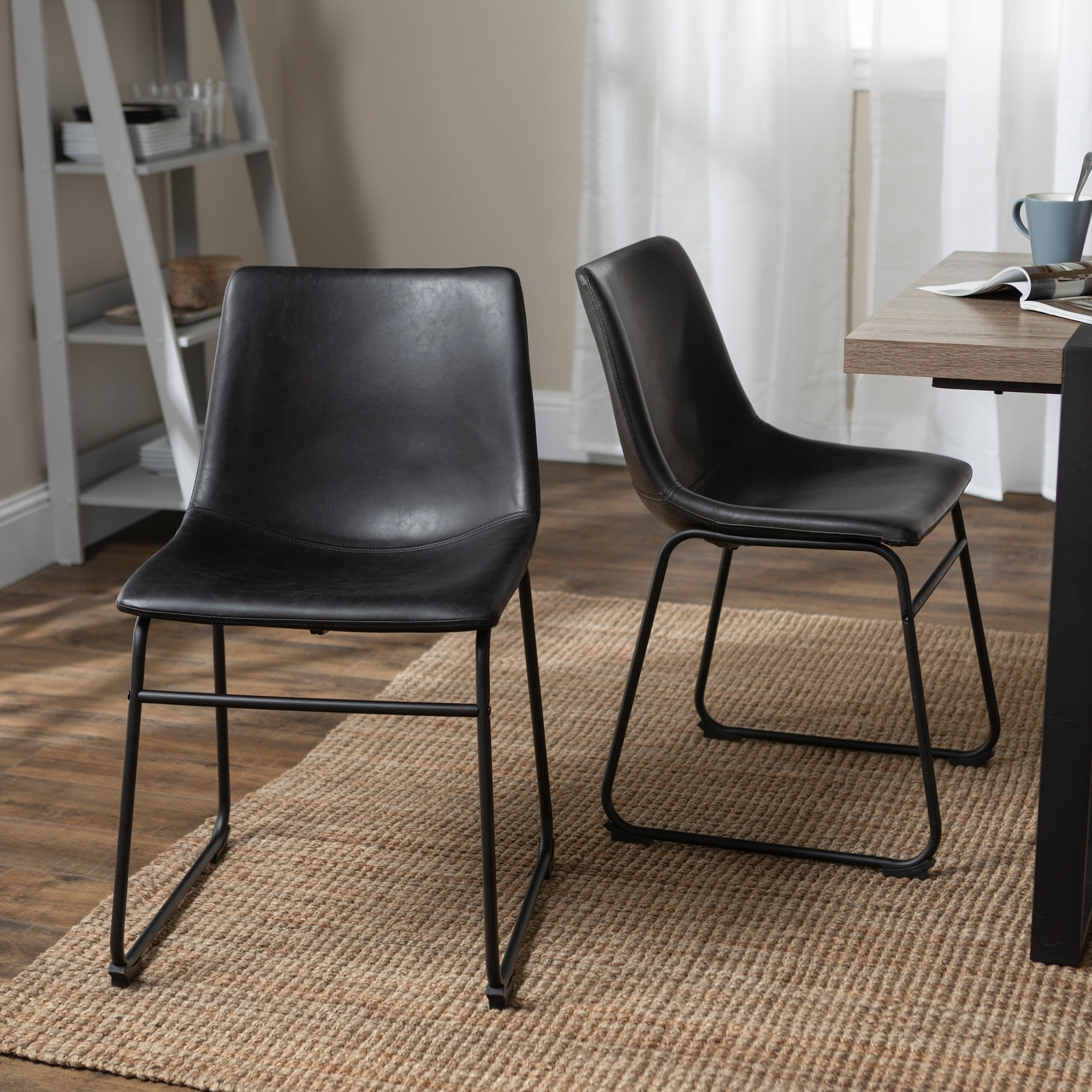 Carbon Loft Prusiner Black Faux Leather Dining Chairs Set Of 2 Urban Metal Sled Legs N A