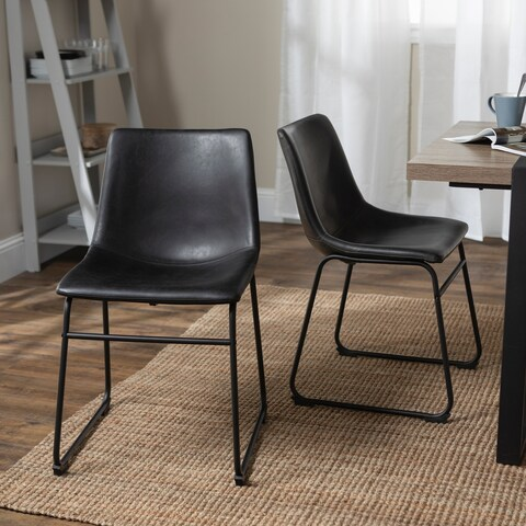 18-inch Industrial Faux Leather Dining Chairs (Set of 2) - N/A