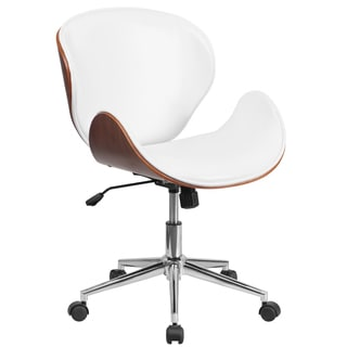 Wayn Walnut Wood and White Leather Upholstery Swivel Conference Chair