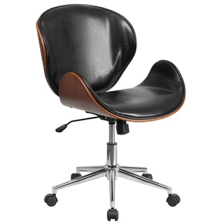 Wayn Walnut Wood and Black Leather Swivel Conference Chair
