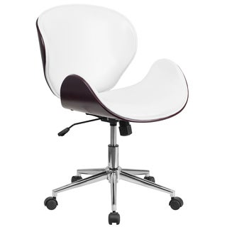 Wayn Mahogany Swivel Conference Chair with White Leather Upholstery