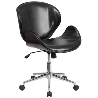 Wayn Black Leather Mahogany Wood Upholstered Swivel Chair
