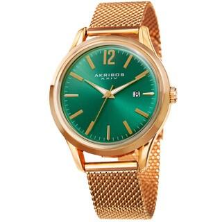 Akribos XXIV Men's Quartz Easy-to-Read Gold-Tone Stainless Steel Mesh Strap Watch