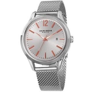 Akribos XXIV Men's Quartz Easy-to-Read Silver-Tone Stainless Steel Mesh Strap Watch
