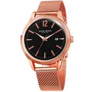 Akribos XXIV Men's Quartz Easy-to-Read Rose-Tone Stainless Steel Mesh Strap Watch - GOLD