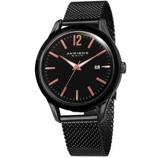 Akribos XXIV Men's Quartz Easy-to-Read Black Stainless Steel Mesh Strap Watch
