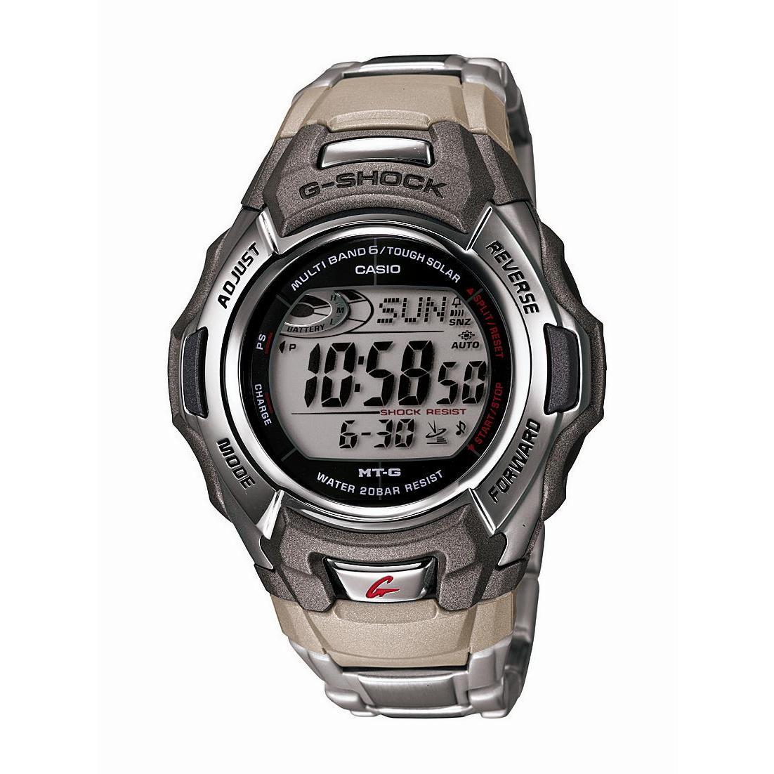 Casio Mens G Shock Stainless Steel Tough Solar Atomic Dig...