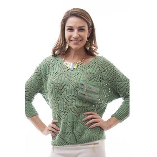 Soho Women Winter One Size Long Sleeve Boxy Open Knit Sweater
