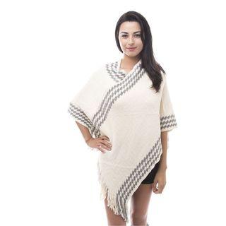 Soho Women Ivory Tassel Knitted Poncho Cardigan Loose Sweater Outwear Jacket Coat