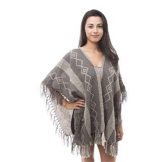 Soho Women Grey/ Ivory Diamod Hippie Poncho Cardigan