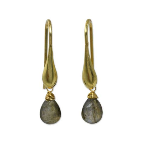 Handmade Gold Overlay Mystical Glamour Labradorite Earrings (Thailand)