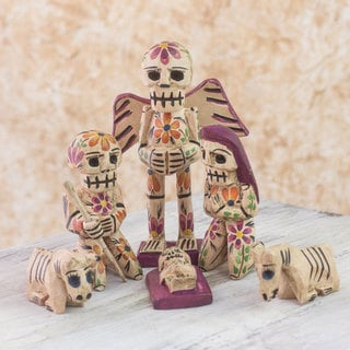 Set of 9 Pine Wood 'Holy Skeletal Night' Nativity Scene (Guatemala)
