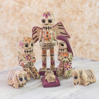 Handmade Set of 9 Pine Wood 'Holy Skeletal Night' Nativity Scene (Guatemala)