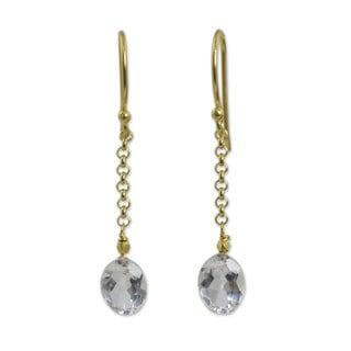 Handmade Gold Overlay 'Rising Star' Quartz Earrings (Thailand)