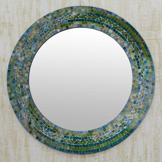 Handcrafted Glass Mosaic 'Forest Charm' Wall Mirror (India)