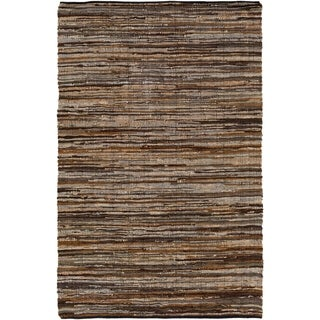 Hand Woven Balbach Leather/Cotton Area Rug - 5' x 7'6""