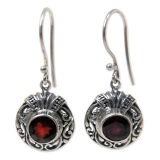 Sterling Silver 'Scarlet Ladybug' Garnet Earrings (Indonesia)