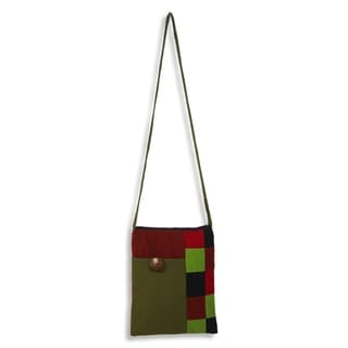 Cotton 'Lanna Rhythm in Olive' Shoulder Bag (Thailand)