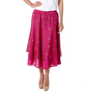 Cotton 'Hot Pink Tiers' Skirt (India)