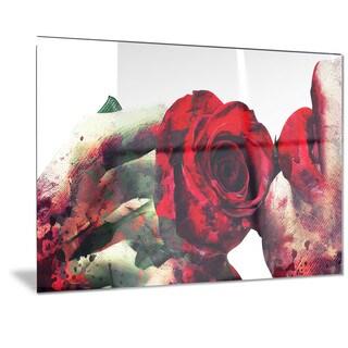 Designart 'Lips and Roses Sensual Metal Wall Art