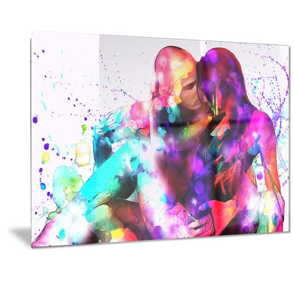 Designart u0026#x27;Colorful Embrace Sensual Metal Wall Art  sc 1 st  Overstock.com & Shop Designart u0027Colorful Embrace Sensual Metal Wall Art - Free ...