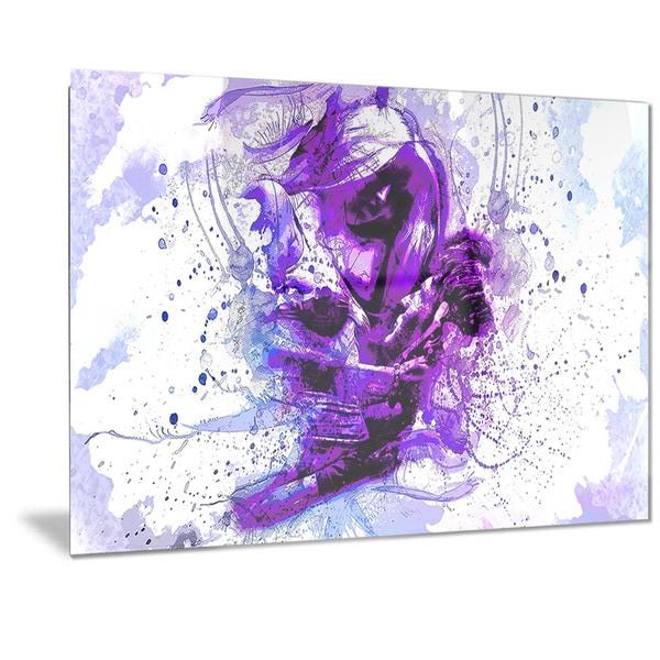 Shop Designart \'Purple Abstract Embrace Sensual Metal Wall Art ...