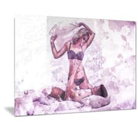 Designart 'Man and Wife Pillow Fight Sensual Metal Wall Art