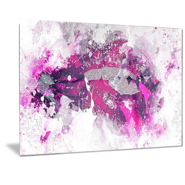 Designart u0026#x27;Pink and Purple Lips Sensual Metal Wall Art  sc 1 st  Overstock.com & Shop Designart u0027Pink and Purple Lips Sensual Metal Wall Art - Free ...