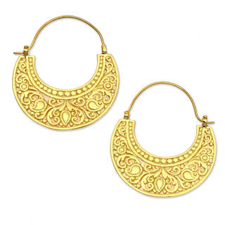 Handmade Gold Overlay 'Garden of Eden' Earrings (Indonesia)