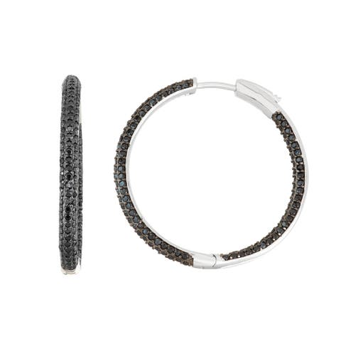Gioelli Sterling Silver Black Spinel Pave Hoop Earrings