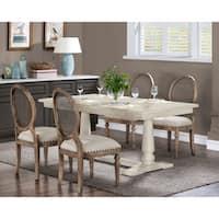Stones & Stripes Farmhouse White Pedestal Dining Table