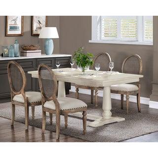 The Gray Barn Farmhouse White Pedestal Dining Table