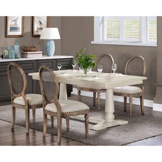 Stones U0026 Stripes Farmhouse White Pedestal Dining Table