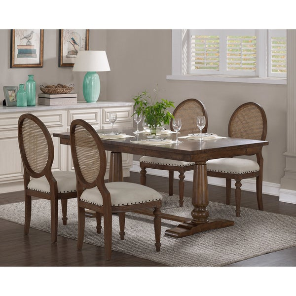 Stones U0026amp; Stripes Farmhouse Oak Pedestal Dining Table
