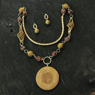 Handmade Golden Grass 'Jalapao Enchantment' Agate Jewelry Set (Brazil)